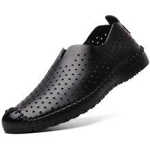 Los Hombres de cuero genuino Zapatos de Verano 2017 Sandalias de Los Hombres respirables Huecos Sandalia suave Mocasines zapatos de Conducción de Negocios informal Masculina