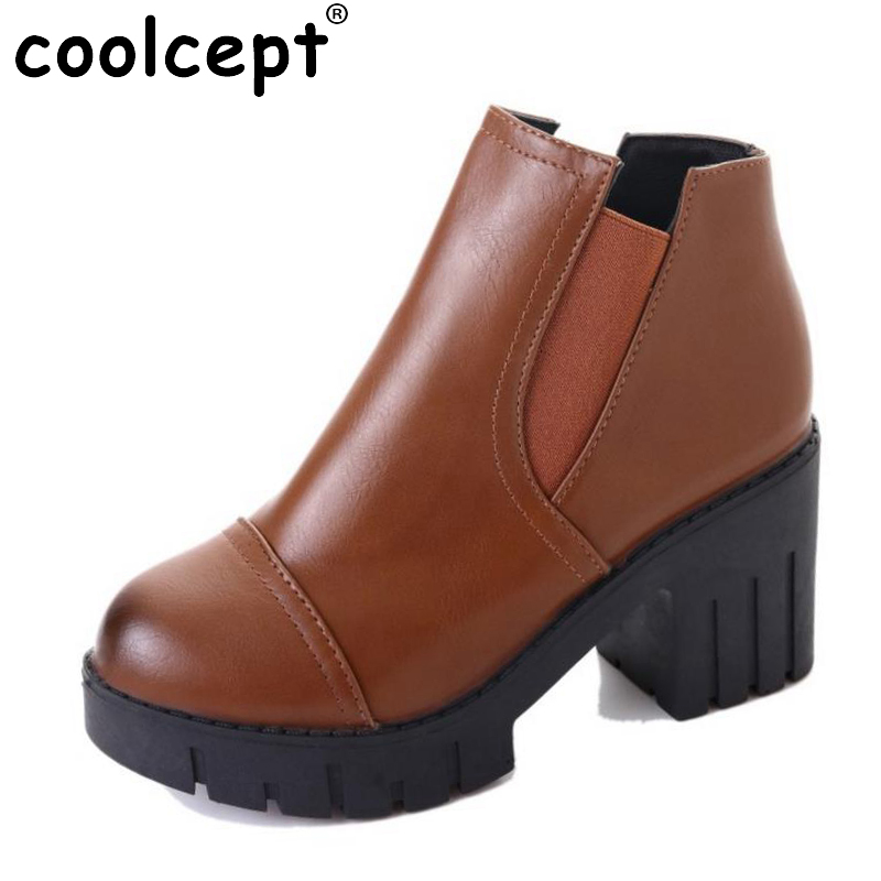 Coolcept Size 35-40 Winter Shoes Women Thick High Heel Ankle Boots Women Slip On Thick Platform Botas Autumn Footwear lloprost ke faux fur ankle boots women casual shoes botas slip on platform low heel mujer winter autumn boots big size zz041