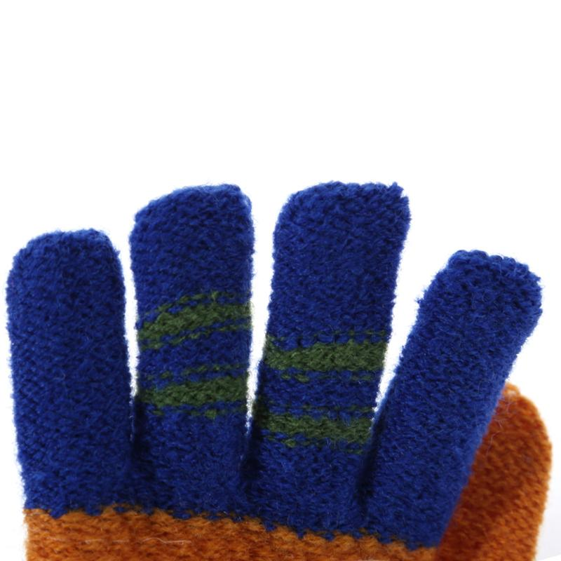 Windproof Color Block Striped Mittens With Long String For 2-6 Years Old Autone Children Kids Winter Cartoon Thickened Knitted Full Finger Gloves