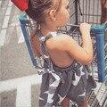2016 Novas Meninas Vestidos de Verão Listrado Estrelas Vestido para As Meninas Da Moda Na Altura Do Joelho-comprimento Meninas Sem Encosto Vestidos de Praia Vestido de Verão