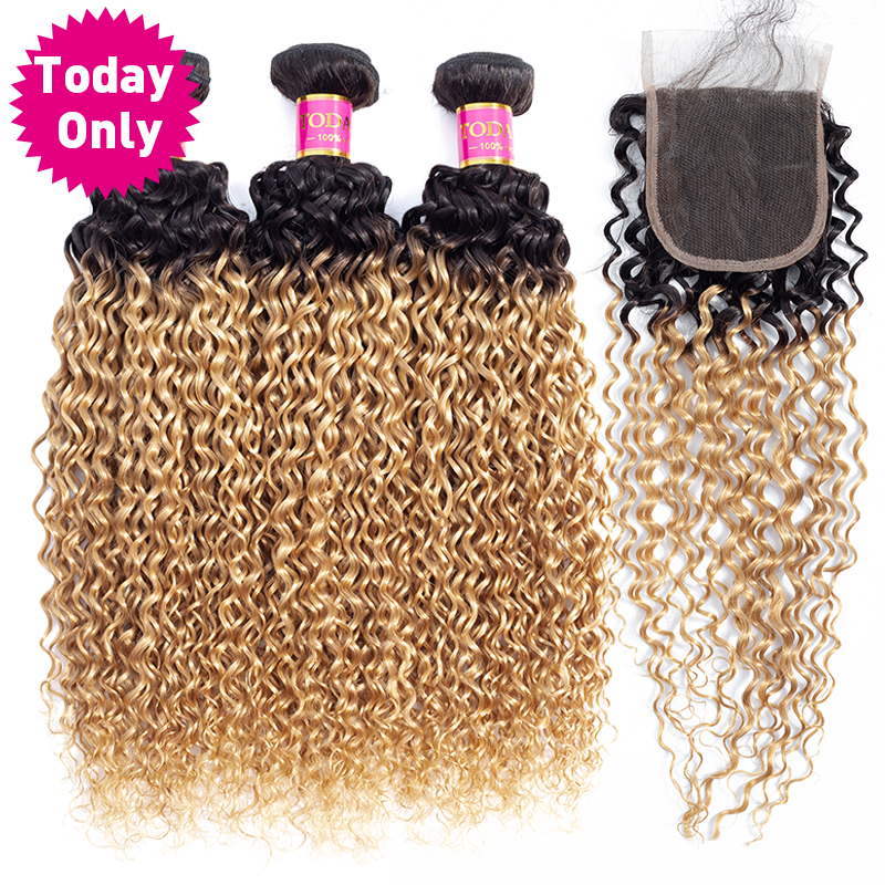 TODAY ONLY Mongolian Kinky Curly Hair Bundles With Closure Ombre Blonde Bundles With Closure Human Hair