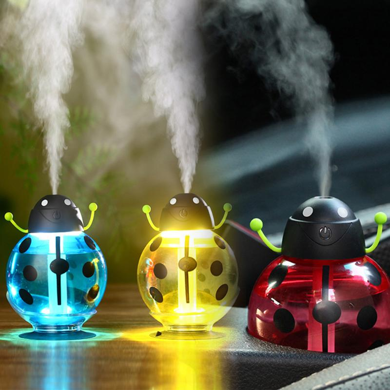 Mini USB Beetles Air Humidifier DC5V Silent Ultrasonic Diffuser Mist Maker with LED Night Light for Home Office Car usb mini humidifier air cooling fan mini fans office air diffuser mist maker dc 5v pink blue green