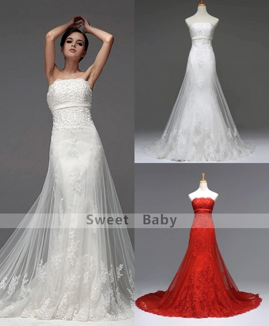 46725c16d196 Real Photo White/Red Beach Wedding Dress 2016 New Appliques Strapless  Sleeveless Lace Up Court