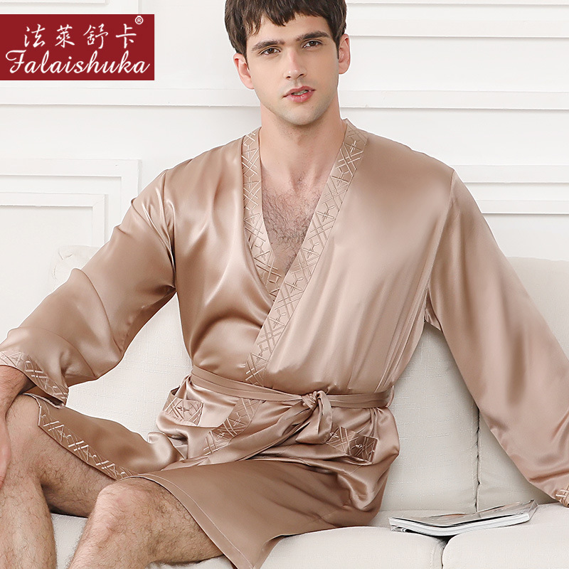 Noble 100% Real Silk Robes Men Simple Long Sleeve Robes Autumn 19 Momme Real Silk Male Home Robes Casual Elegance Men Robe New