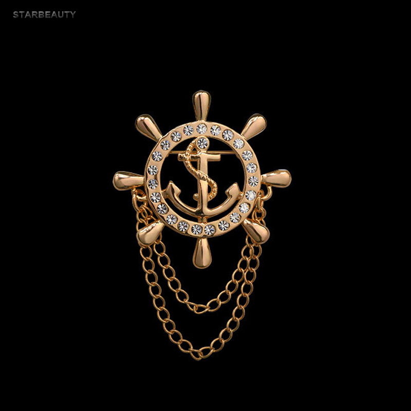 US $0 99 50% OFF Golden Rudder Anchor Brooch Mens Suit Boutonniere Badge  Korean Brooches for Men Lapel Pin Women Broches Chain Christmas Gift-in