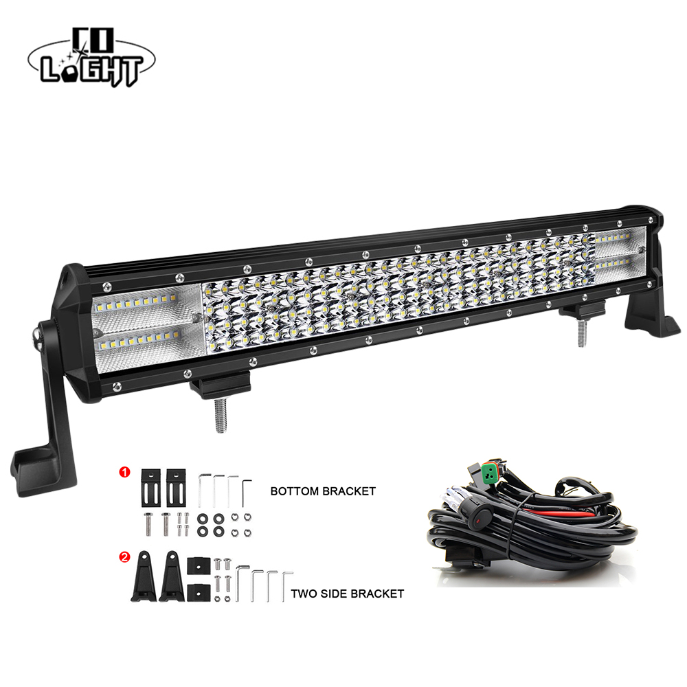 CO LIGHT 20'' 20 Led Bar 8D 468W Led Strip for Lada Jeep Wrangler Jk Uaz Gaz Ford VW Off Road Combo with Wires Harness
