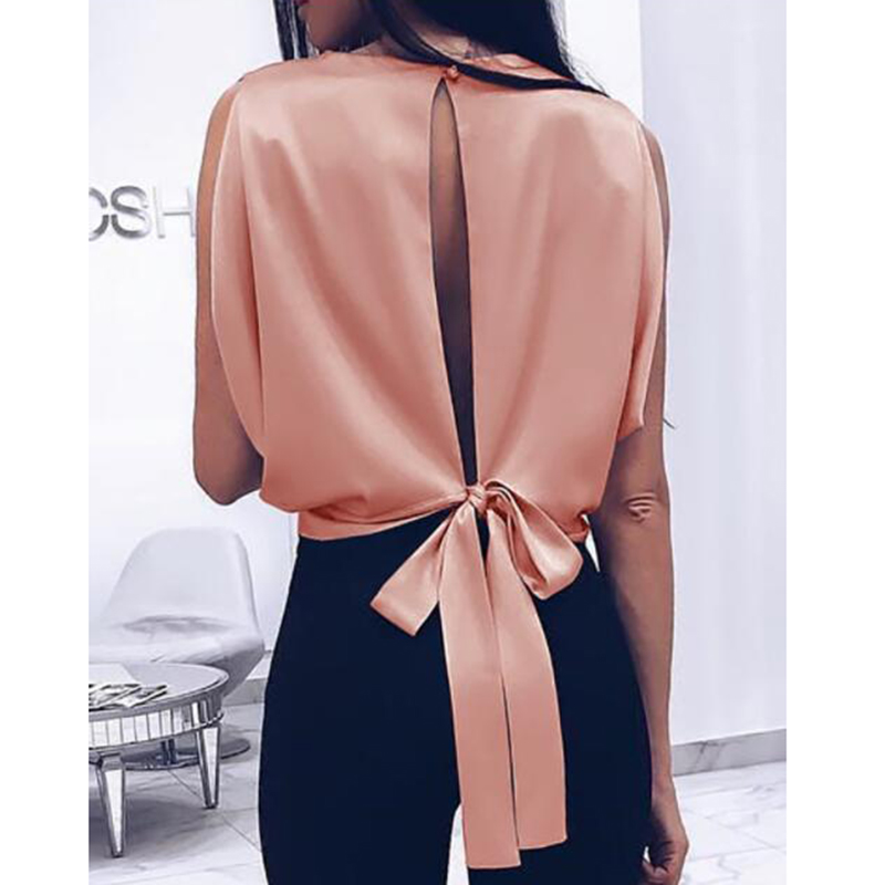 Sleeveless open back   blouse     shirt   women solid bow   blouse   Elegant womens short tops Femme summer blusas mujer
