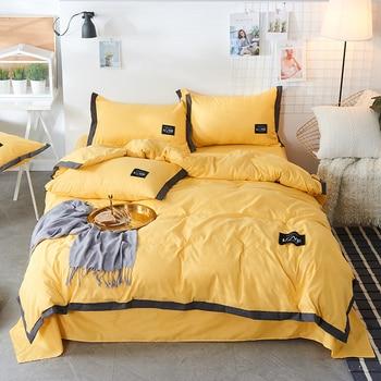Sanding LOVE Bedding Set Autumn Winter Cold Season Use Duvet Cover Pillowcase Flat Bedclothes Solid Color Queen King Bed Linen