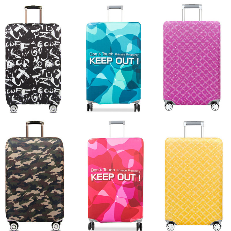 Men Elastic Luggage Protective Cover Women Thicker Colorful Dust Rain Bags Cover Trunk Case Travel Suitcase Accessory Tag Straps
