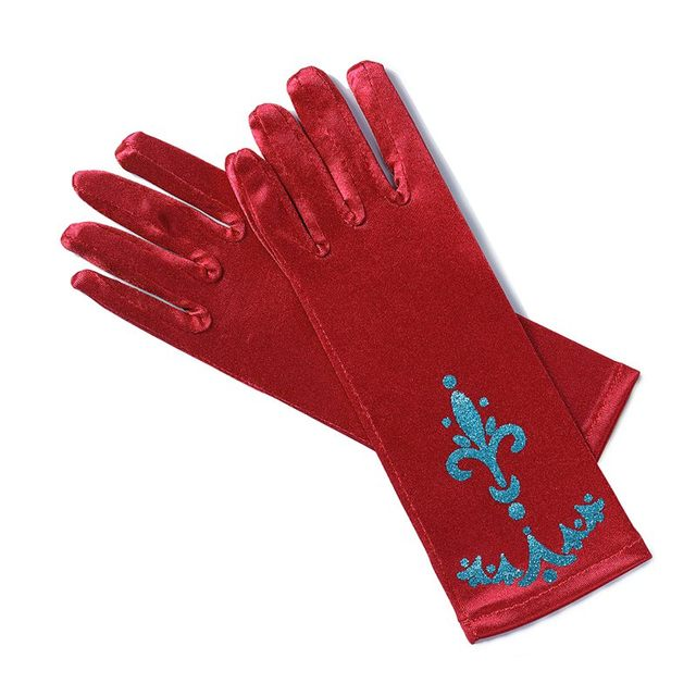 MUABABY Girl Elsa Coronation Gloves 6 colors Brocade Long Finger Gloves 24cm Sequins Printed Cosplay Clothing Girl Party Costume 3