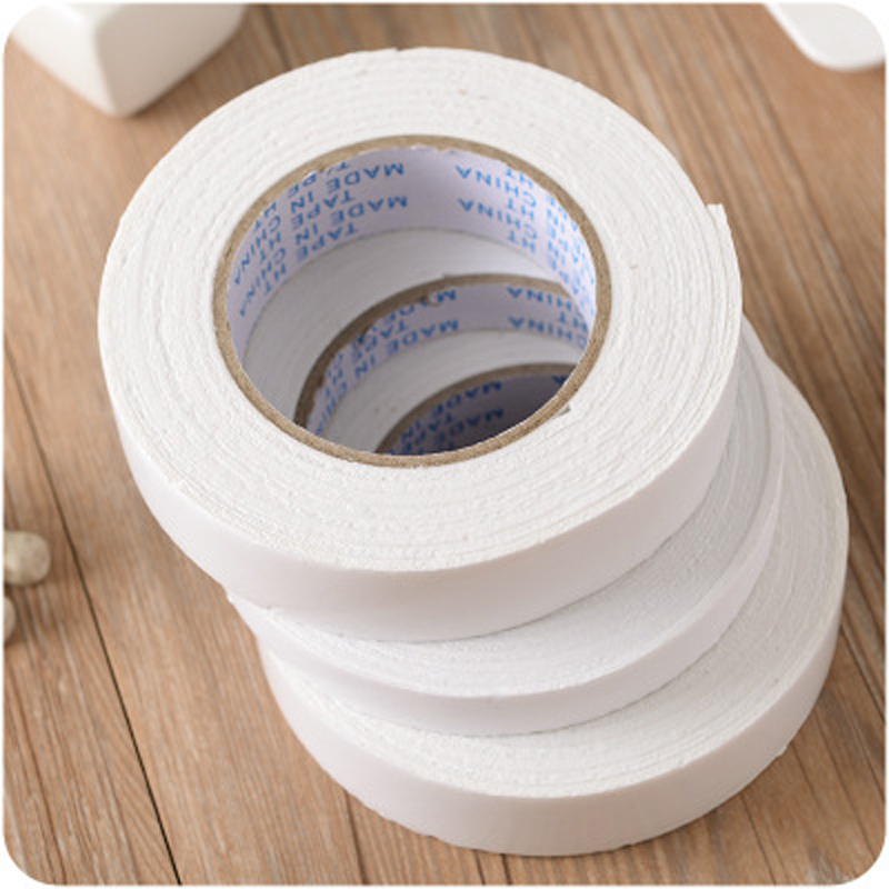 1pc Foam Double-Sided With Wall Fixed Plastic Tape Sponge Seamless Rubber White