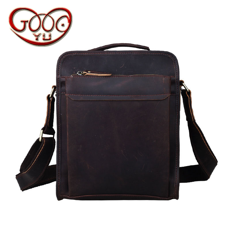 New Europe and the United States retro leather shoulder bag vertical section first paragraph leather men Messenger bag IPAD bag aetoo new front cowhide retro leather shoulder bag men travel backpack europe and the united states crazy horse leather