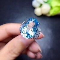 [MeiBaPJ натуральный большой небесно голубой топаз драгоценный камень Мода кольцо для Для женщин реальные 925 пробы серебряный шарм Fine Jewelry