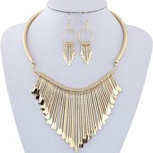 New Luxury Womens Metal Tassels Pendant Chain Bib Necklace and  Earrings Jewelry Set Delicate Gift