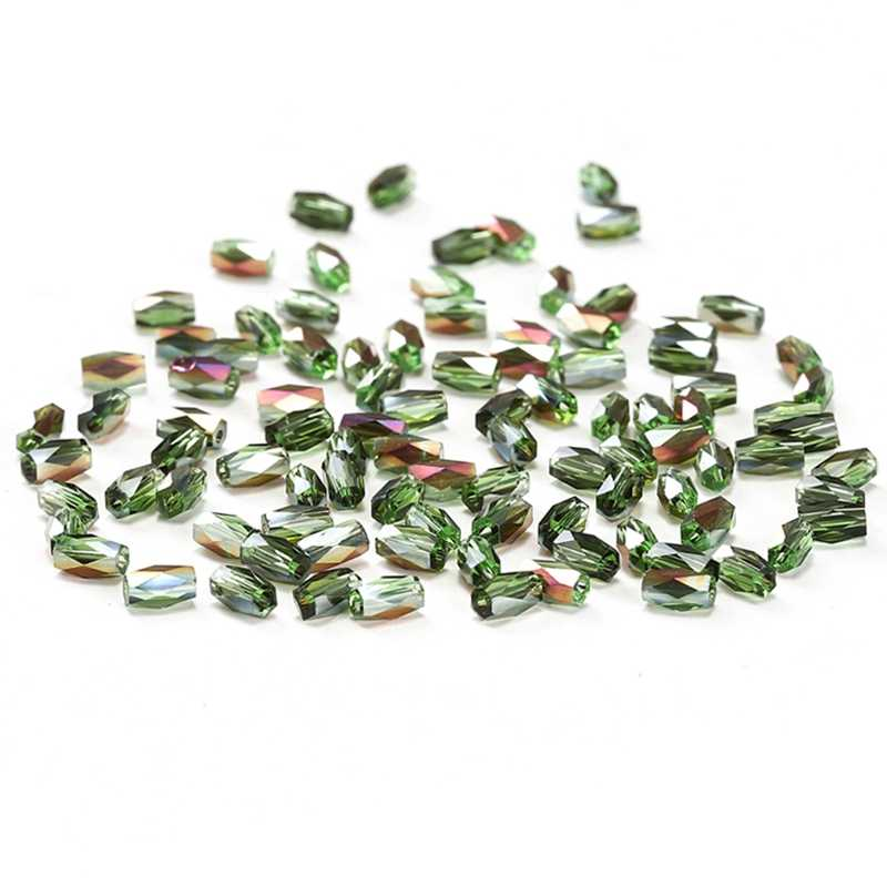 Grass Green Color AB 50pcs 2*4mm Cylinder Crystal Beads Austria Crystal 18 Cutting Faces Glass Beads for Beading Jewelry C-2