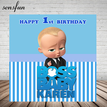 Sensfun בוס תינוק מקלחת 1st מסיבת יום הולדת רקע לבנים לבן וכחול פסים נושא רקעים עבור תמונה סטודיו 7x5FT