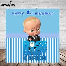 Sensfun Chefe 1st Birthday Party Cenário Do Chuveiro de Bebê Para Meninos Listrada Branca E Azul Tema Fundos Para Estúdio de Fotografia 7x5FT