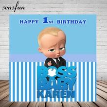 Sensfun bossベビーシャワー 1st誕生日パーティーの背景男の子白と青のストライプテーマ写真スタジオの背景 7x5FT
