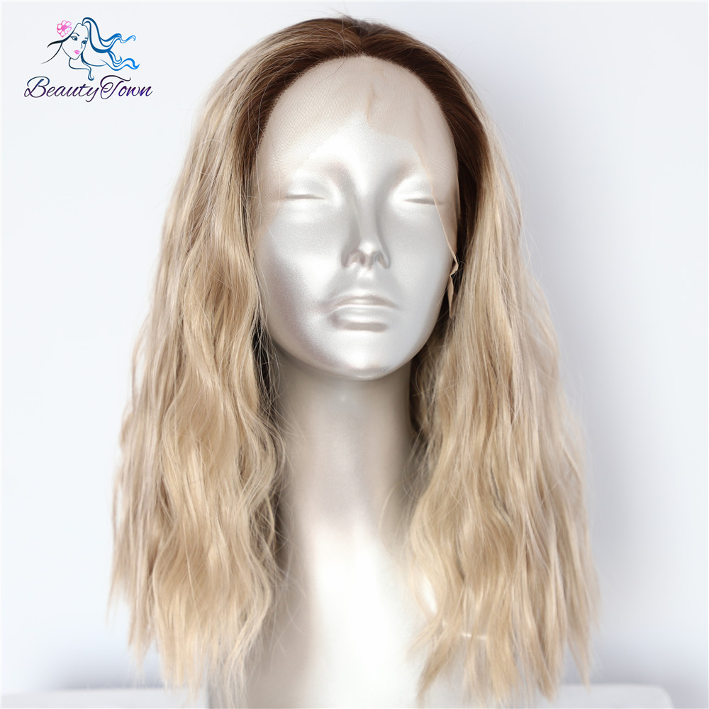 BeautyTown Short Brown Ombre Blonde Hand Tied Women Daily Makeup Heat Resistant Synthetic Lace Front Party