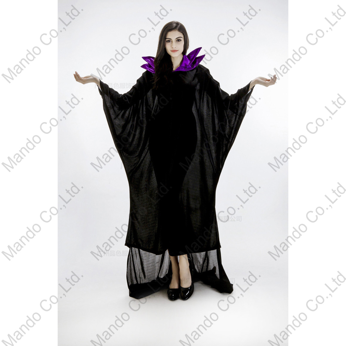 Women Carnival witch cosplay dresses Movie Maleficent Women Cosplay Black Cloak  halloween Black witch party costume
