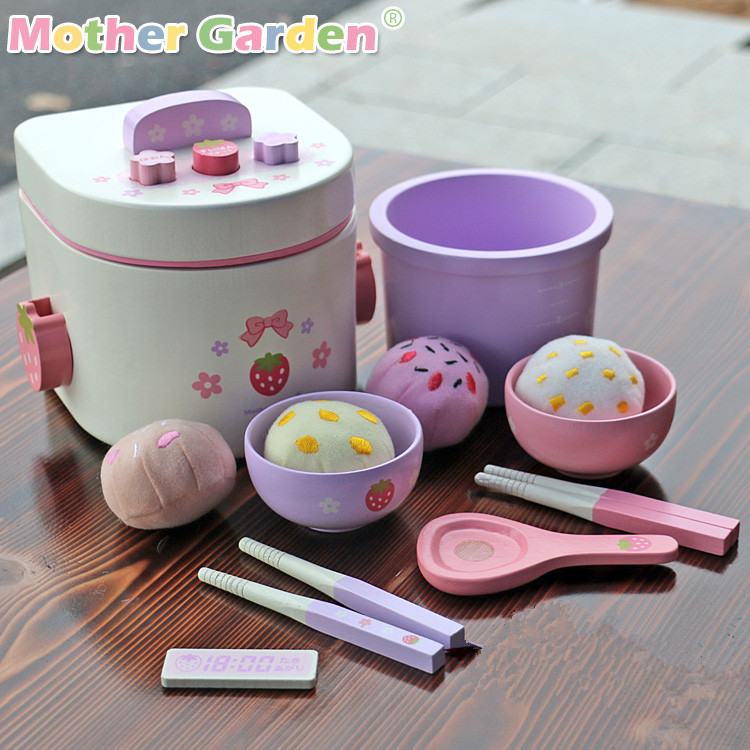 Baby Toys Japan Simulation Electric Rice Cooker Bowl Wooden Toys Food Pretend Play Baby Simulation Kitchen Toy Set Birthday Gift mother garden high quality wood toy wind story green tea wooden kitchen toys set