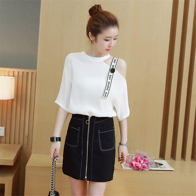 6f3e02073 Korean fashion women white blouse & black zipper style suit 2018 spring and  summer vestido 2 pcs outfit design costume S-XL