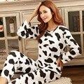Pijamas de las señoras womans nihgtgown femenina de dibujos animados de manga larga traje de ropa Para El Hogar Mobiliario pijamas set Soft fashion set
