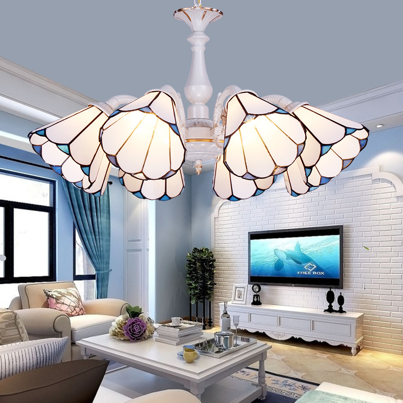 Tiffany Baroque Stained Glass Suspended Luminaire E27 220V-240V Chain Pendant lights Lighting Lamps for Home Parlor Dining Room european retro coloured drawing rose glass pendant lights classical rural e27 led lamps for parlor