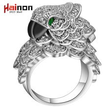 S925 mall Female parrot bird Ring Vintage Style silver color Filled Jewelry