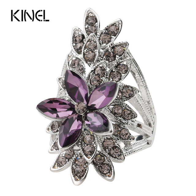 Kinel Fashion Crystal Flower Rings For Women AAA Purple Glass Silver Plated Wedd