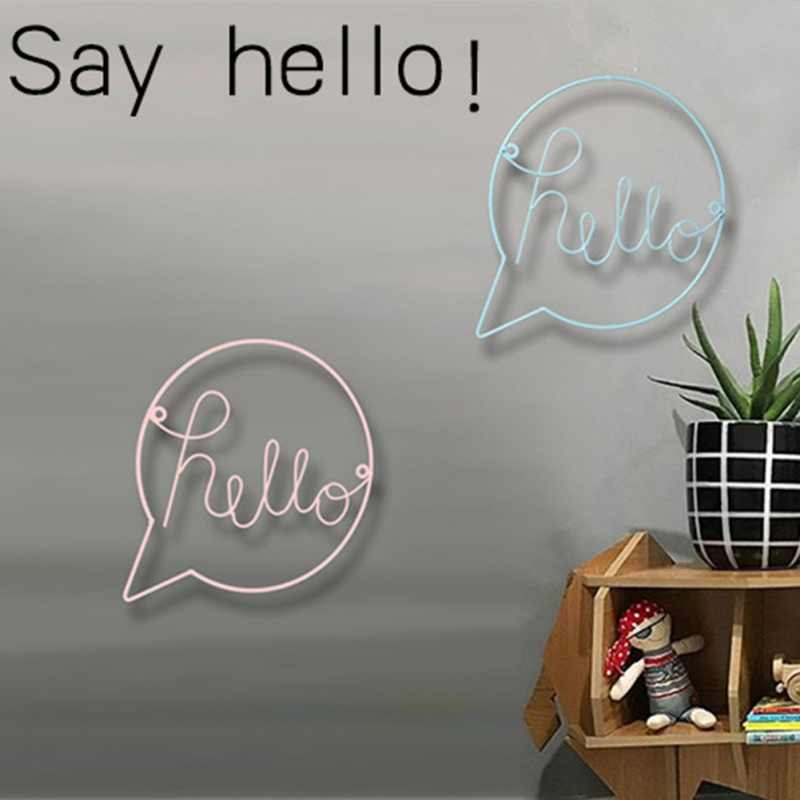 "Nordic Style Iron Art English Letters ""Hello"" Home Decoration Welcome Sign For Shop Wall Hanging Door Hanging Decorations"