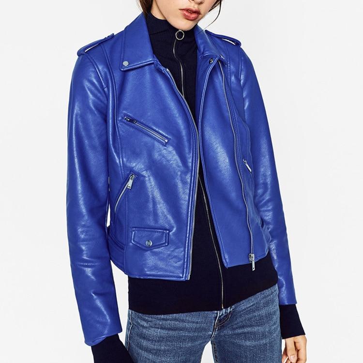 Blue Leather Jackets Luxury Women Moto Verde Bomber ...