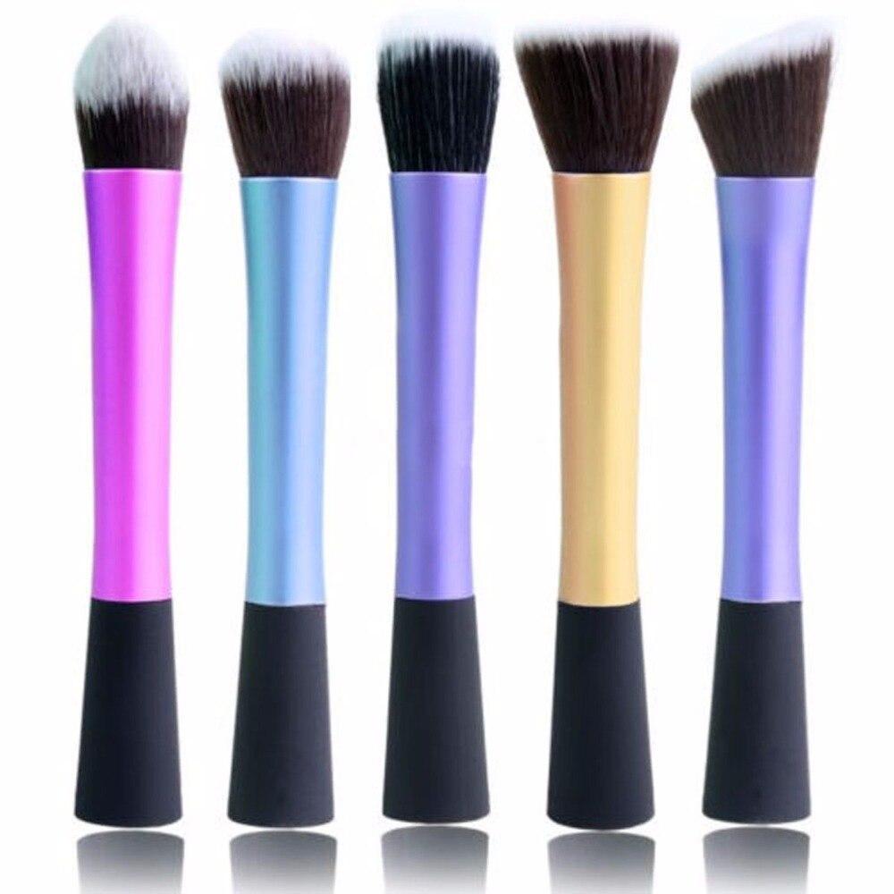 5 Type <font><b>4</b></font> Color Women Pro Concealer Dense Fiber Powder Blush Flat Stippling Foundation Brush Cosmetic Makeup Tools 2016 Hot Sale