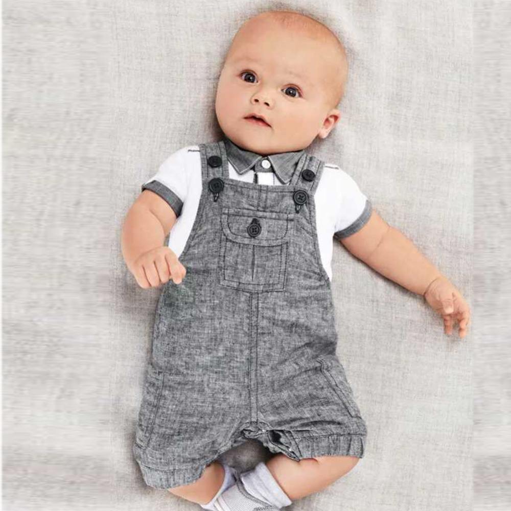 Short Sleeve Shirt+Gray Overalls Trousers Outfit For Children Baby Boys Kids Formal Suits Summer Boy Gentleman Clothes Set 2018 spring baby boy gentleman suit shirt overalls 3pcs long sleeve shirt boys pants kids clothes children clothing set cls101