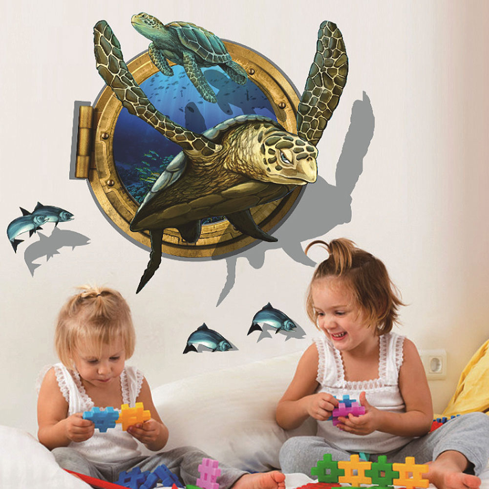 Ocean View Fish Turtle 3d Bathroom Wall Sticker Art For Kids Rooms Decoration Diy Home Decor