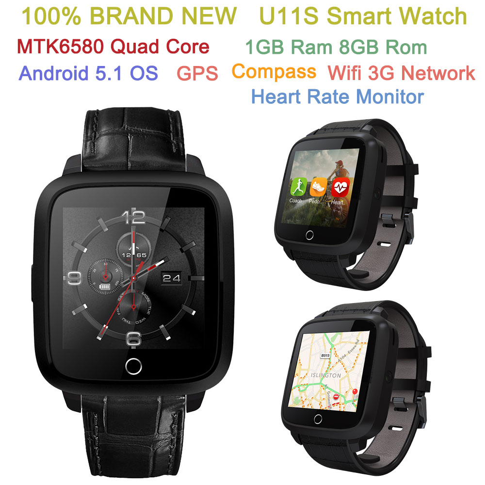 New U11S Smart Watch Android 5.1 OS MTK6580 Quad Core 1GB Ram 8GB Rom 3G GPS WIFI Compass Heart Rate Monitor BT4.0 watch phone no 1 d6 1 63 inch 3g smartwatch phone android 5 1 mtk6580 quad core 1 3ghz 1gb ram gps wifi bluetooth 4 0 heart rate monitoring