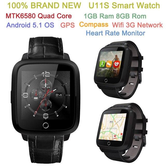 Новый U11S Smart Watch Android 5.1 OS MTK6580 Quad Core 1 ГБ Оперативной Памяти 8 ГБ Rom 3 Г GPS WIFI Компас BT4.0 Монитор Сердечного ритма часы-телефон