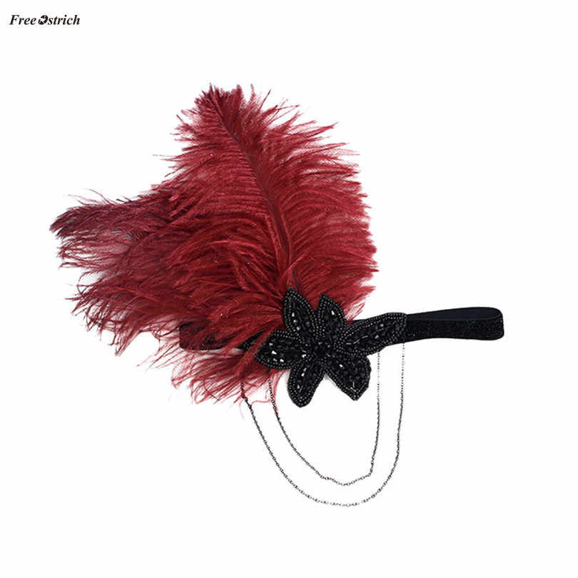 Free Ostrich Indian Feather Headband Black Rhinestone Beaded Headpiece For Women Vintage Party Hair Accessories OC18