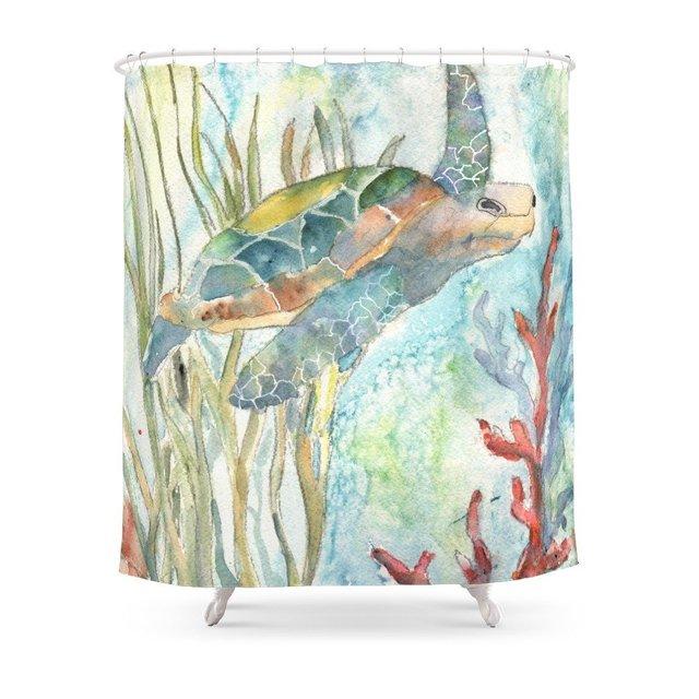 Underwater Fantasy Sea Turtle Shower Curtain Bath Products Bathroom Decor With 12 Hooks Waterproof