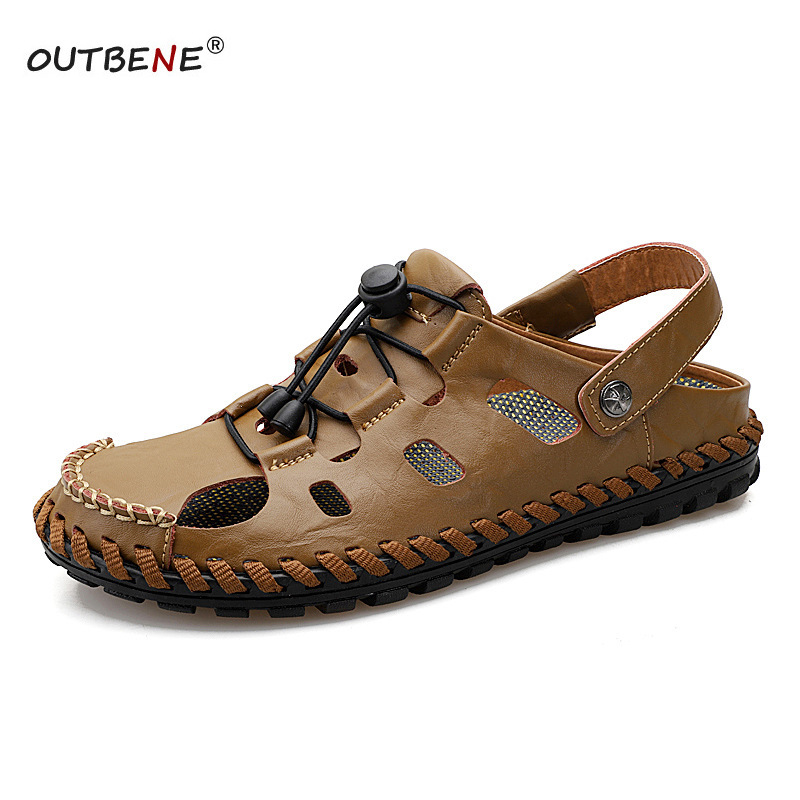 Sandals Slippers Flats Beach-Shoes Soft-Sole Breathable Genuine-Leather Casual Summer