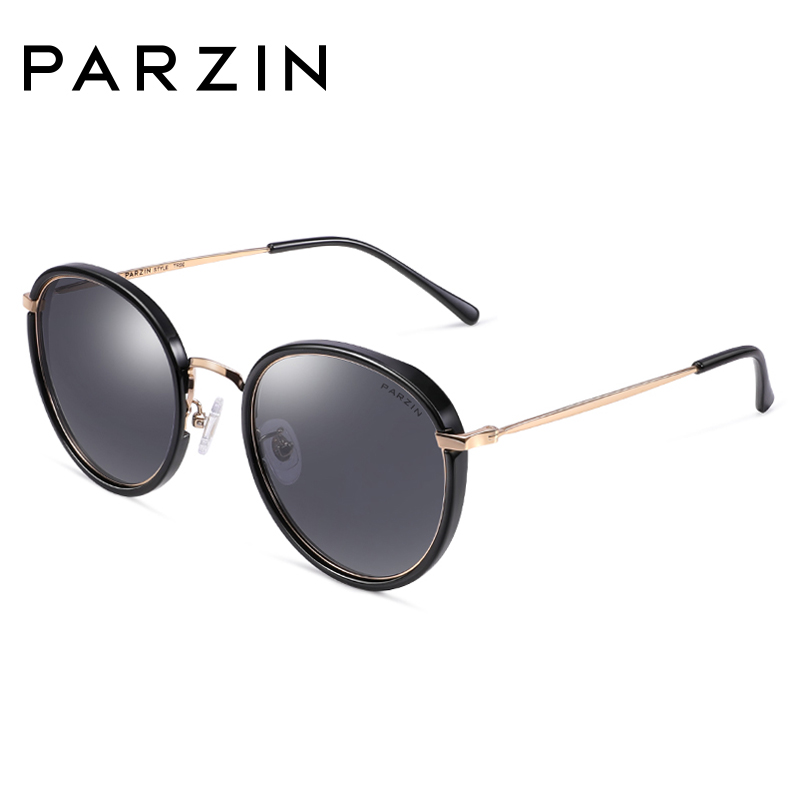 PARZIN High Quality Women Polarized TAC Lenses Sunglasses For Driving Oval Metal Frame Coating Mirror Glasses
