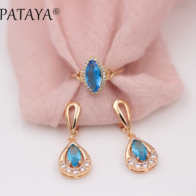 PATAYA New Exclusive 585 Rose Gold Drop Earrings Rings Sets Horse Eye Blue Natural Zirconia Women Party Wedding India Jewelry