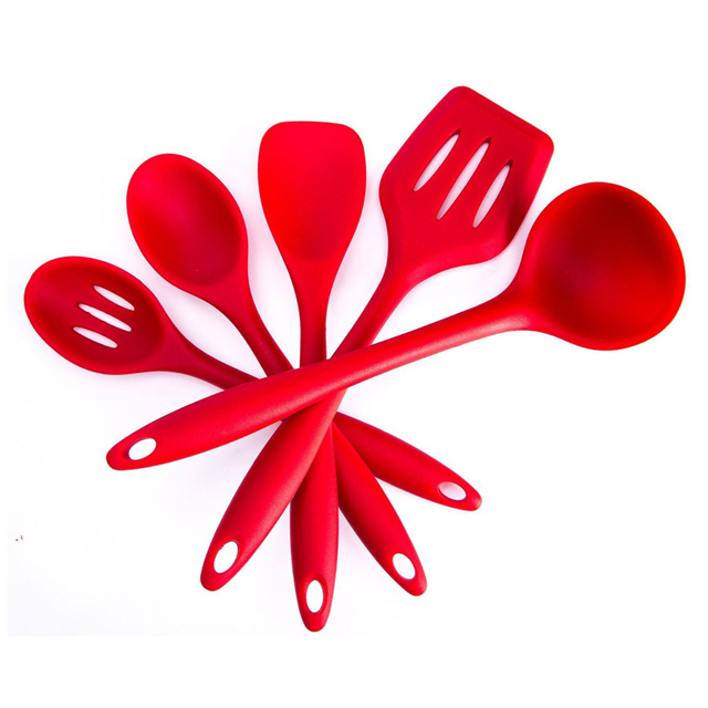 5pcs Silicone Kitchenware Suit Kitchen Tools Set Spatulas Spoon Slotted  Turner Ladle Cooking Utensils Red