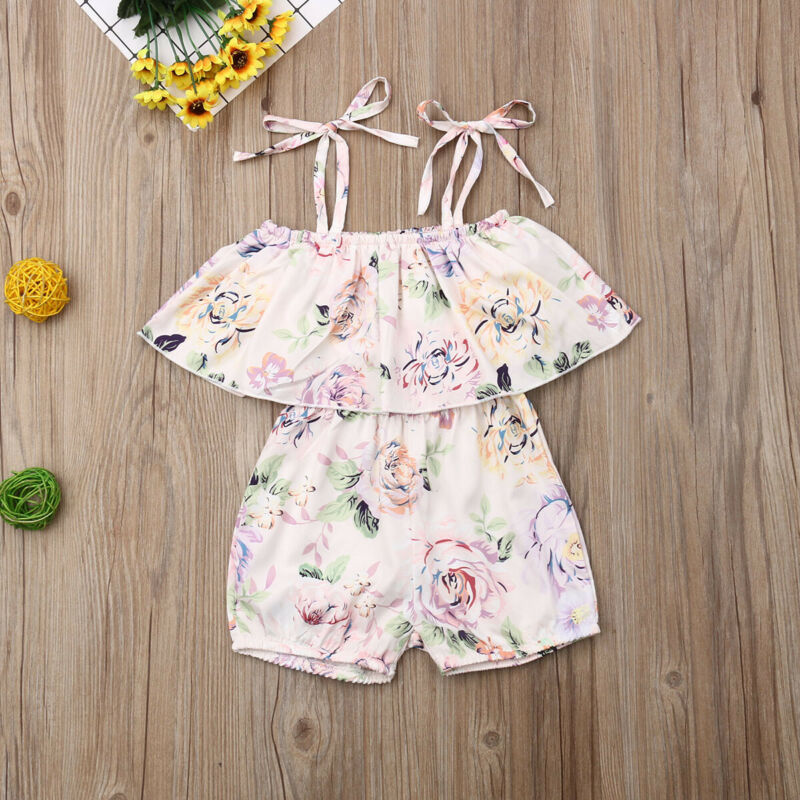 0 24M Summer Infant Baby Girl Bodysuits Sleeveless Floral Lace Belt White Jumpsuit 2PCS Outfit Clothes Summer in Clothing Sets from Mother Kids