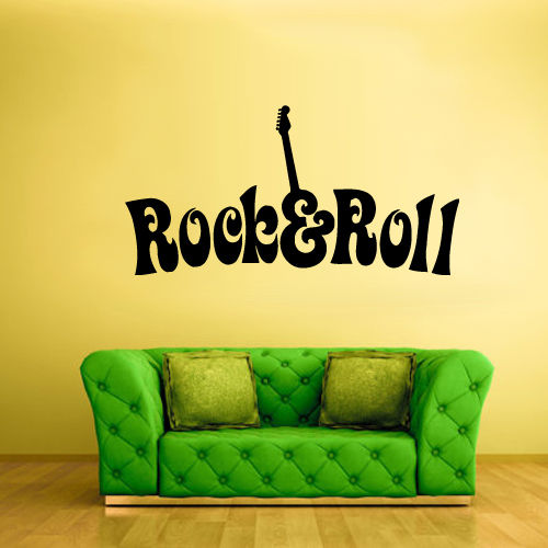 Wall Vinyl Sticker Bedroom Decal Rock N Roll Guitar Words Quote Sign 22x35inch