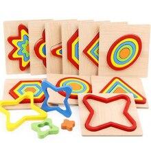 شكل الإدراك مجلس الأطفال بازل قطع ألعاب خشبية الاطفال لعبة تعليمية الطفل مونتيسوري التعلم مباراة الطوب اللعب