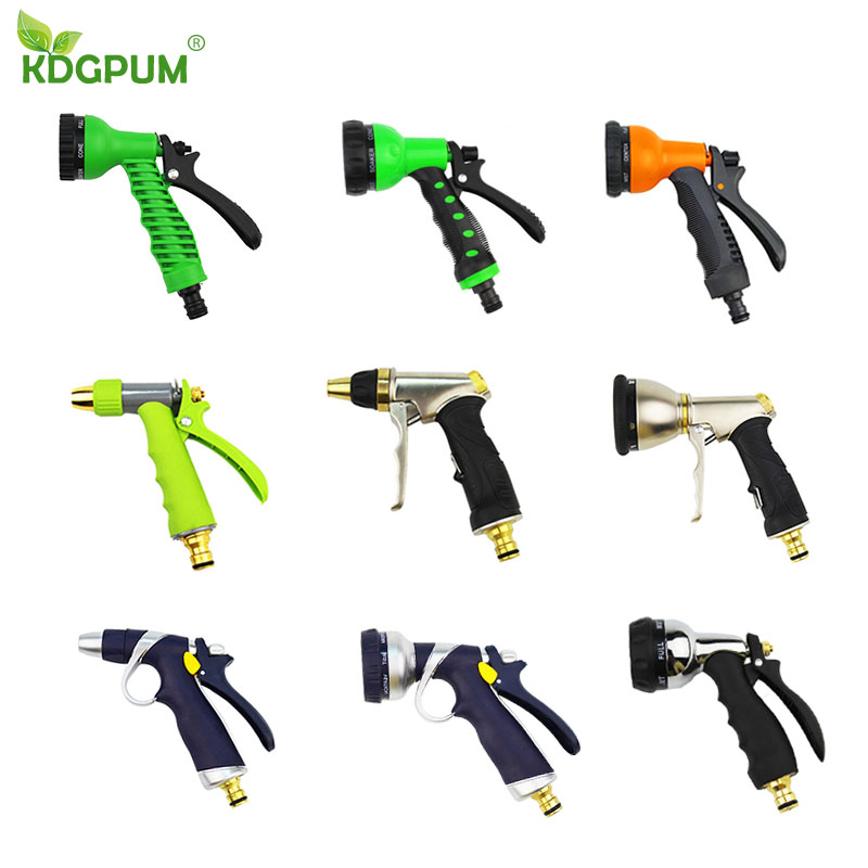 High Pressure 9 Style Garden Water Gun Alloy Adjustable Sprayer Hose Spray Water Nozzle Gardening Watering Household Car Wash
