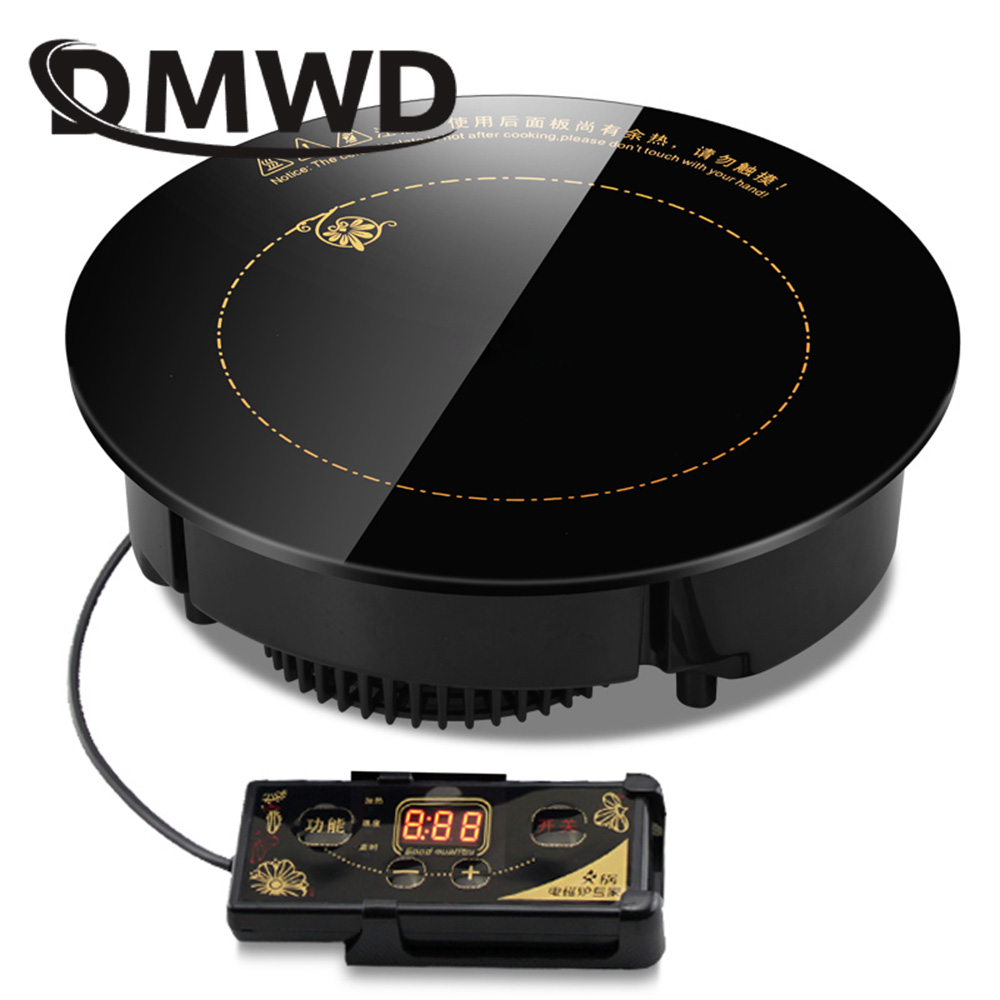 DMWD 2000W/2200W Round Electric Magnetic Induction Cooker Embedded Mini Wire control Hob Waterproof Hot Pot Stove Cooktop Burner|Induction Cookers| |  - title=
