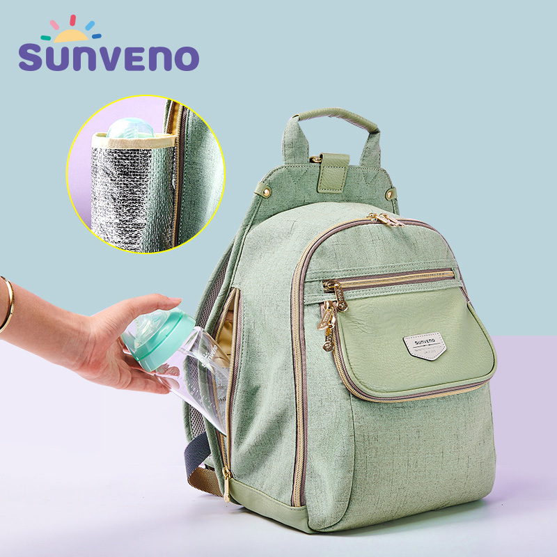 купить Sunveno New Fashion PU Mummy Diaper Bag Waterproof Travel Backpack High Capacity Insulation Baby Care Maternity Changing Wet Bag недорого