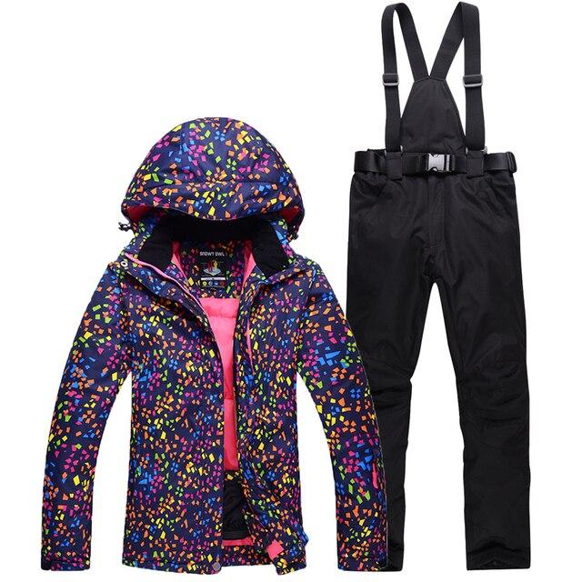 Более дешевый женский лыжный костюм наборы для ухода за кожей одежда для занятий сноубордингом непромокаемые ветрозащитные зимние костюмы куртки + нагрудники Брюки